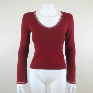 Red Bell Sleeve V-Neck Cotton Knit Top Sweater S